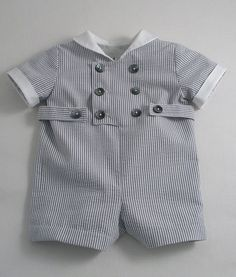 Patricia Smith Designs- Grey and white Striped Seersucker suit for a Baby Boy
