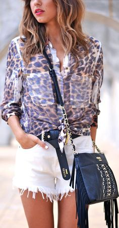 Guess Brown Stunning Animal Print Button Up Shirt by Just Coco