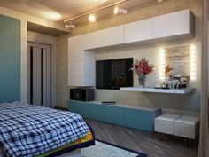 quarto de casal, madeira, branco, cinza, cimento queimado, azul, iluminação