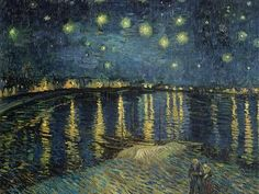 Starry Sky over the Rhone - Van Gogh, Vincent (Dutch, 1853 - Fine Art Reproductions, Oil Painting Reproductions - Art for Sale at Galerie Dada Vincent Van Gogh, Nocturne, Renoir, Monet, Van Gogh Arte, Van Gogh Paintings, Free Art Prints, Maurice, Oil Painting Reproductions