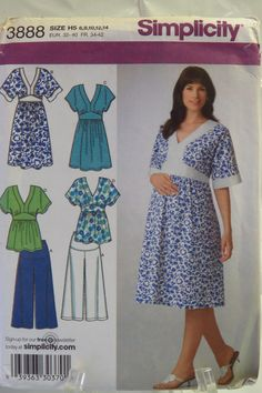Simplicity 3888 Maternity Dress, Tunic or Top and Knit Gauchos