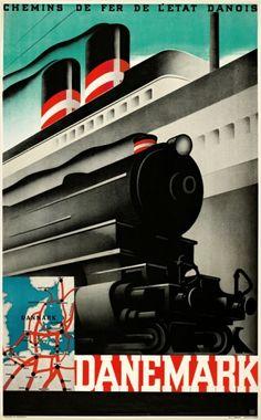 Danemark - Chemins des Fer, 1934 by Sven Henriksen. #allgoodthings #danish #posters spotted by @missdesignsays