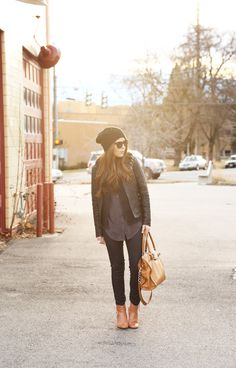 urban style everlane blouse faux fur booties