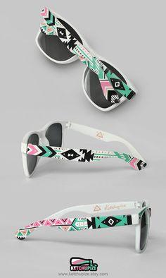 Sunglasses - Aztec print Tribal trend fashion sunglasses unique hand painted - pastel pink mint natural black on Wanelo