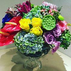 renkli egzotik düğün masası çiçekleri,colourful egzotic wedding centerpiece flowers