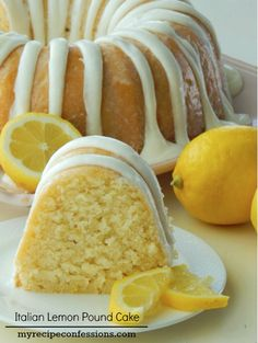 Italian Lemon Pound Cake -  super moist texture and the rich citrus flavor. Italian Lemon Pound Cake, Lemon Bundt Cake, Top Recipes, Cooking Recipes, Recipe Recipe, Buttercream Icing, Coffee Cake, Cupcake Recipes, Food To Make