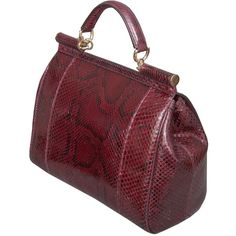 Dolce & Gabbana Burgundy Snakeskin Handbag ❤ liked on Polyvore