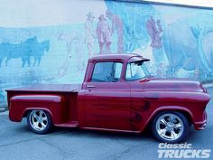 Custom Pickup Trucks | 1955 Chevy Pickup Truck Custom Flame Paint Job