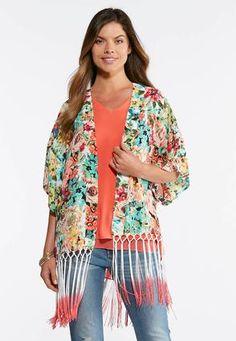 2360f3af487 Cato Fashions Floral Ombre Fringe Kimono  CatoFashions Refashion