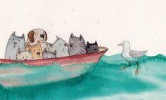 'All at sea! Seaside Towns, Art Festival, Choir, Cards, Painting, Design, Greek Chorus, Painting Art