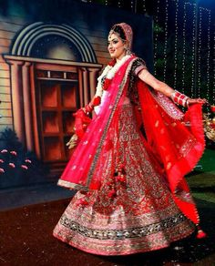 Gorgeous pink red and blue bridal lehnga