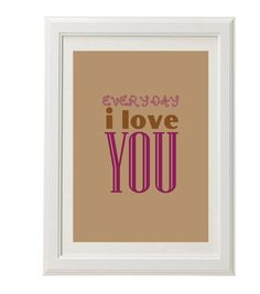 #iloveyou print magenta gift  8''x10'' free by QueenAndEyePrints, $20.00 #homedecor