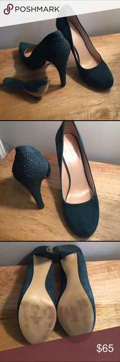 NINE WEST BLUE SUEDE HEELS Gently loved. Worn only a few times for special events. No marks or flaws. Beautiful sparkle detail on heals! Nine West Shoes Heels
