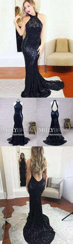 Sparkly Long Prom Dresses Mermaid,Black Formal Evening Dresses Modest,Halter Military Ball Dresses Sequins,Sexy Wedding Party Dresses Open Back #MillyBridal #blackdress #sparklydresses #eveningdresses