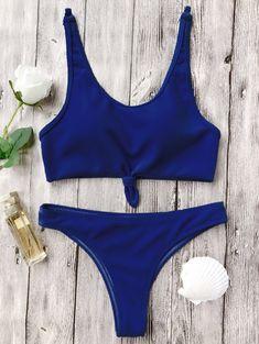 a882b8450 Knotted Bralette High Cut Bikini Set