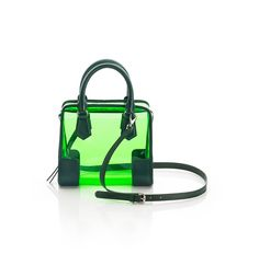 Clear neon green purse
