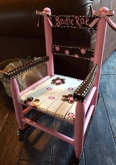 Pink And Brown Rocking Chair Girls   Child Rocker   Kid Sized   Childu0027s  Rockingu2026