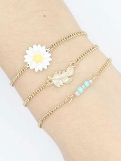 Golden Floral Leaves Embellishment Beaded Bracelet Pack