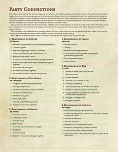 "dnd-5e-homebrew: "" Party Connections by Freewolf "" Great generator!"