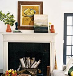 unused fireplace decorating ideas: Non-working Fireplace? No problem! & Decorating a non-working fireplace. Love the decorative panel inside ...