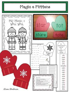 Mitten activities: LOTS of cute, quick, easy & fun activities for silent or magic e. These all have a mitten theme. Word Work Activities, Winter Activities, Magic E Words, Silent E, Green Mittens, Winter Words, Lesson Planner, Mittens Pattern, Matching Games