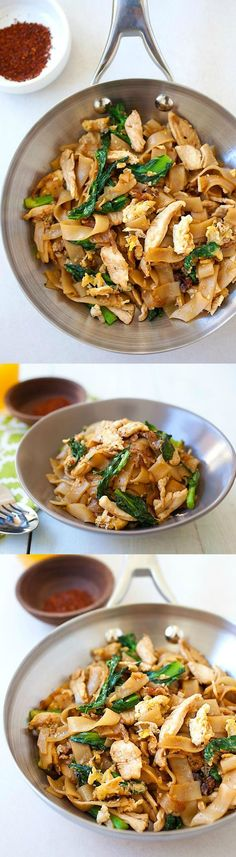 Pad See Ew - popular Thai rice noodles with chicken and vegetables. Easiest and best homemade pad see ew recipe, much better than restaurants and takeouts | rasamalaysia.com #ThaiFoodRecipes
