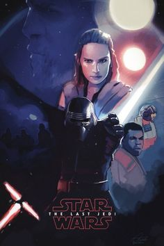"""realjburns: """"Painted this poster over the weekend—GOSH I'm excited for this movie! Check out my ArtStation for more Star Wars concept/fan art, and my work in general:. Rey Star Wars, Star Wars Art, 3 Reyes, Images Star Wars, Rian Johnson, Fanart, Dc Movies, Movies Online, Star Wars Wallpaper"""