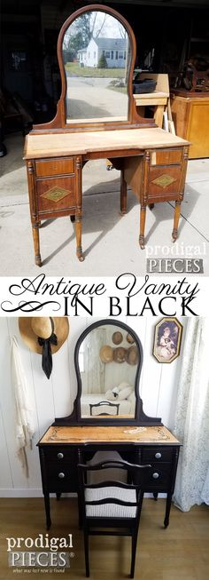 This worn and raw vanity needed a new lease on life. Larissa of Prodigal Pieces ran with the feel of it and turned it into a gorgeous black antique vanity. See the details at prodigalpieces.com #prodigalpieces #furniture #homedecor #shopping