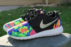 Custom tropical Tahitian Nike Roshe Black White by LeedasWorld