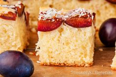 Coconut yogurt cake with plums