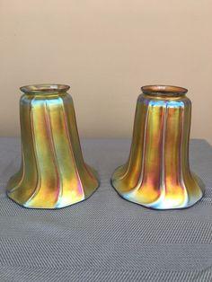Antique STEUBEN Signed Aurene Glass Shade Art Nouveau Lamp Shade Pair