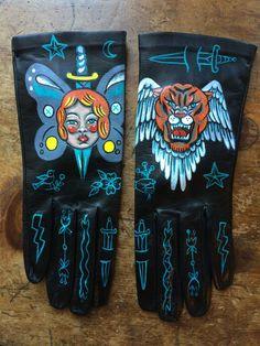 "Image of Hand Painted Gloves- ""Tiger Girl"" by Ellen Greene 2015 Ellen Greene, Black Biker Boots, Tiger Girl, Symbolic Representation, Hand Images, Gothabilly, Chrome Hearts, Skateboard, Gloves"