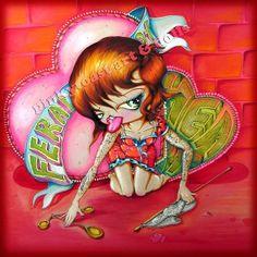 Feral At Heart-Big Eyed Tattoo Pinup Girl-Loves love-Pinkytoast Art Print-8x8