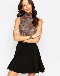 New Look Space Dye Sleeveless Roll Neck Top