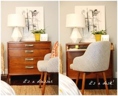 What happens when you slice the drawer-face off a vintage dresser, add hinges, and re-attach? You get an instant repurposed desk! That's what Dana of House Tweaking discovered and shared with this brilliant DIY project. #workspace #homeoffice
