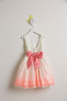 Flower Girl Dress Style 552- Sequin Mesh Dress with Scoop Back