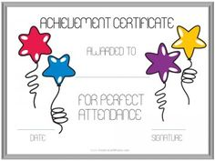Wonderful Attendance Certificate Template Free Attendance Certificate Template 24 Free  Word Pdf Documents, Perfect Attendance Award Certificates, 13 Best Images  Of ...