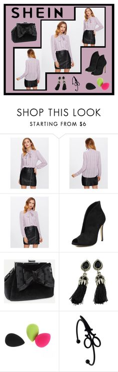 """""""Shein Bow Tie Neck Curved Hem Blouse"""" by jroy1267 ❤ liked on Polyvore featuring shein"""