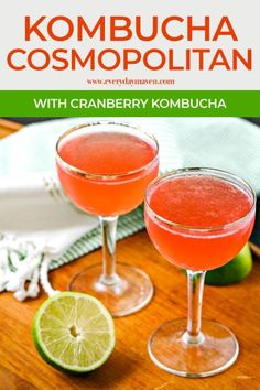 When it comes to kombucha cocktails, nothing beats making a classic Cosmopolitan with Cranberry kombucha! An extra fizzy cocktail with a side of probiotics! When it comes to kombucha cock Keto Cocktails, Cocktails For Parties, Alcoholic Cocktails, Cocktail Night, Cocktail Drinks, Cocktail Recipes, Best Kombucha, Kombucha Cocktail, Fruity Drinks