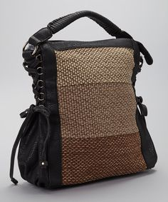 Take a look at this Black & Brown Woven Vegan Leather Hobo on zulily today!