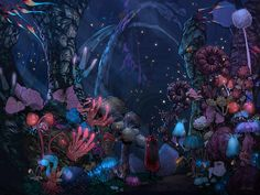 Fantasy World, Fantasy Art, Flower Illustration Pattern, World Gif, Fantasy Background, Campaign Posters, Environmental Art, Dungeons And Dragons, Beautiful Images