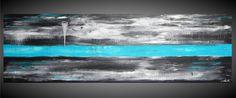"""Large Painting 72"""" x 24"""" Turquoise art on large canvas Oversized Art Abstract Painting Acrylic Wall Deco Black and White Ready to Hang"""