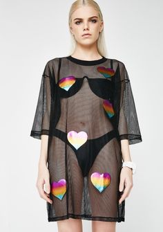 485bb9c76890 Cute Mistake x Dolls Kill. Mad 4 Mesh Dress Rainbow Heart, Mesh Dress,