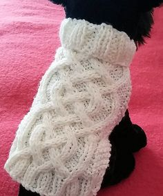 Knit Dog Sweater knitting pattern Celtic Braid design Downloadable PDF