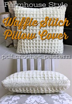 Beautiful crochet pillow cover with this gorgeous waffle stitch pattern makes for a rustic and timeless textured pillow. This would make great year-round coziness in your living room. Or a perfect handmade housewarming gift! Crochet Pillow Pattern, Crochet Patterns, Sitting Room Decor, Waffle Stitch, Patchwork Pillow, Pillow Texture, Round Pillow, Farmhouse Style Decorating, Trends