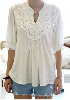 Find More Blouses & Shirts Information about 2014 New Arrival Fashion Lace Splicing Crochet Flower 1/2 Sleeve Casual Blouse For Women In Summer Women's Sexy Lace Top ,High Quality Blouses & Shirts from Chinabestdeals on Aliexpress.com