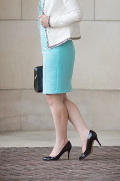 Petite Fashion and Style Blog | Black Halo Amelie Sheath Dress | Maison Jules Tweed Trim Jacket | YSL Monogramme Cabas Small Leather Tote | Kate Spade Karolina Pump | Click to Read More...