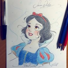 Revenons un peu en arrière avec Blanche-Neige qui. - The Art of David Gilson Disney Character Drawings, Disney Princess Drawings, Disney Princess Art, Disney Sketches, Disney Fan Art, Disney Drawings, Cartoon Drawings, Cinderella Drawing, Disney Characters