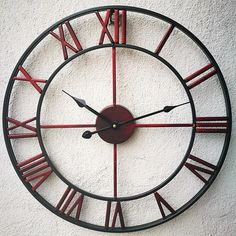 Loft Metal Iron Wall Clock, Vintage Large Roman Clock, Design, Vintage Home Decor Loft Metal Iron Wall Clock Vintage Large Roman Clock Big Wall Clocks, Clock Wall, Clock Decor, Wall Decor, Roman Clock, Vintage Home Offices, Metal Clock, Shops, Iron Art
