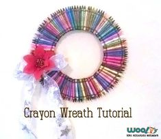 Make the coolest teacher gift with this step-by-step tutorial on how to make a crayon wreath.